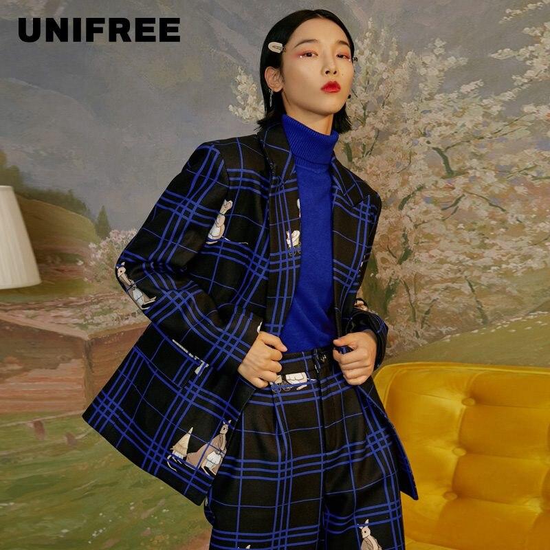 Unifree2020 Winter New Female Personality Trend Commute Simple Stripe Suit Coat U194E901PP
