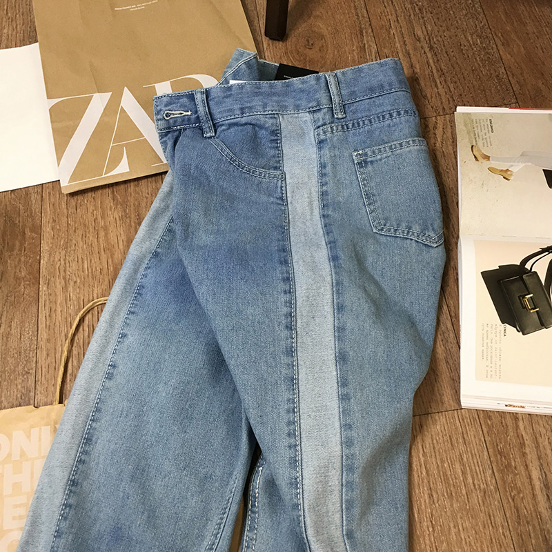 BIVIGAOS 19 New Spring Autumn Womens Cropped Jeans Korean Side Stitching Washed Denim Straight Pants Boyfriend Jeans For Women 18