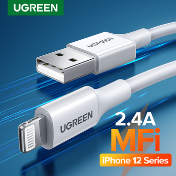 Ugreen MFi USB Cable for iPhone 12 Mini 2.4A Fast Charging USB Charger Data Cable for iPhone 12 Pro Max 11 XR 8 USB Charge Cord 1