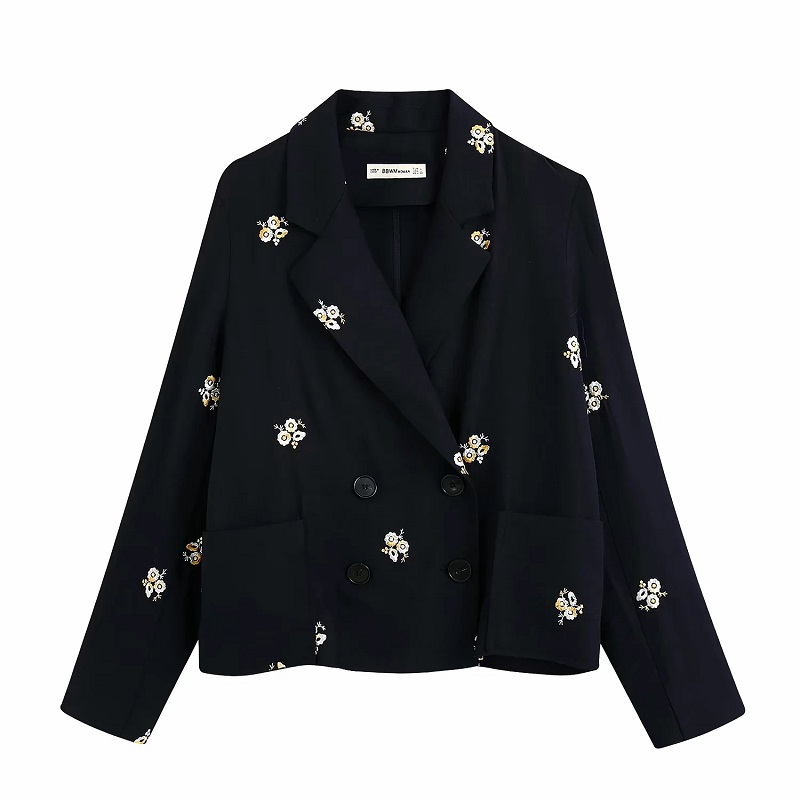 2020 Women Elegant Fashion Double Breasted Floral Embroidery Blazers Vintage Long Sleeve Pockets Female Blazer Coat Casaco Femme