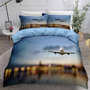 3D Print Airplane Bedding Set Modern Decor Boy Bed Linen Set Pillowcase Single Double Full Queen King Duvet Cover Set Microfiber