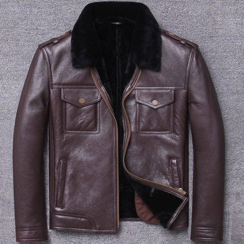 man thickening loose coat quinquagenarian original ecology really leather and fur lamb wool flying serve winter men's cowhide