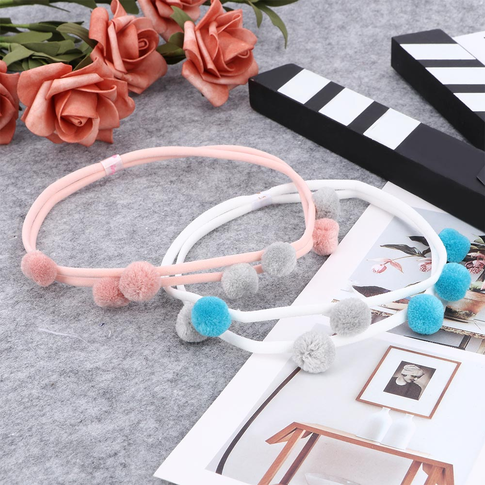 1 PC Cute Headband Lovely Fur Pompom Double Layer Hair Bands Fashion Elastic Nylon Headwear For Baby Girls Kids Hair Accessories