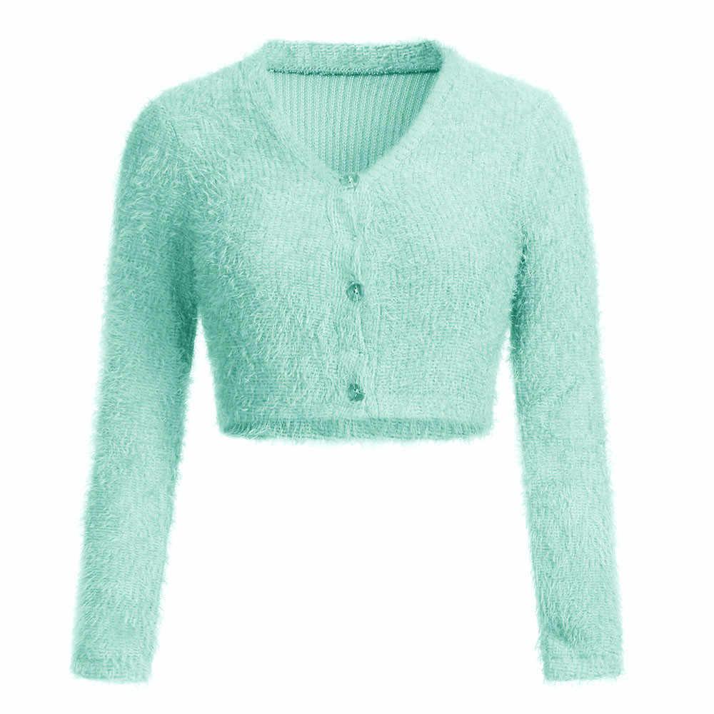 세련된 바 우아한 숙녀 단색 자르기 스웨터 여성의 섹시한 v-목 긴 소매 모피 탑 스웨터 인기 여성 탑스 ropa mujer