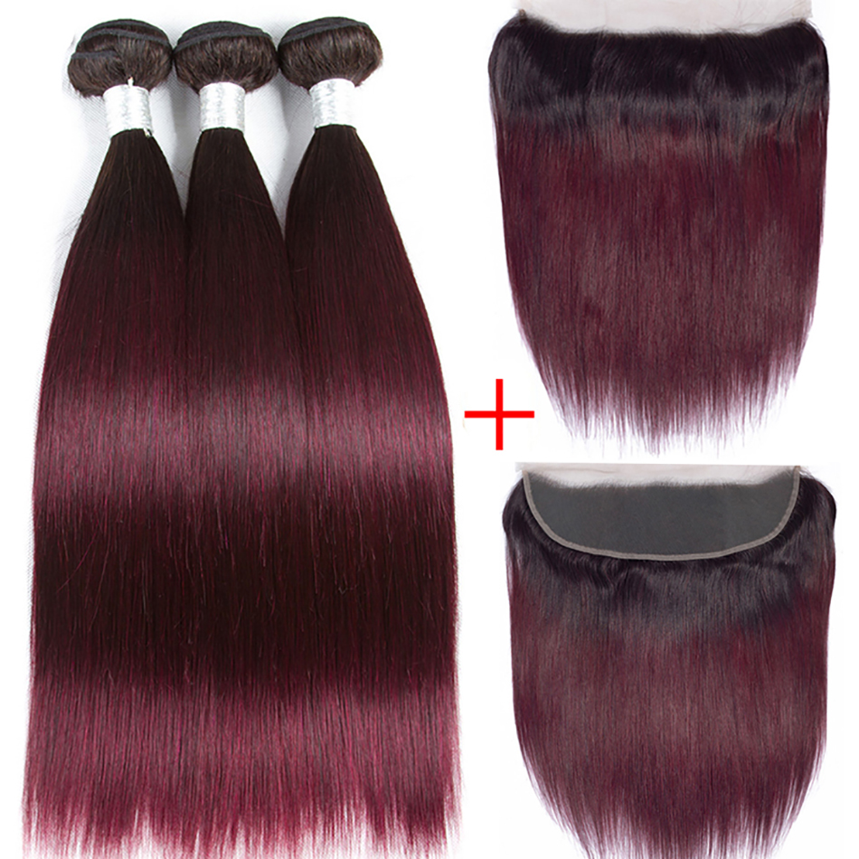 Soul Lady Ombre Bundles With Frontal Closure T1b 99j NonRemy Ombre Straight Brazilian Hair Weave Bundles With Ear To Ear Frontal