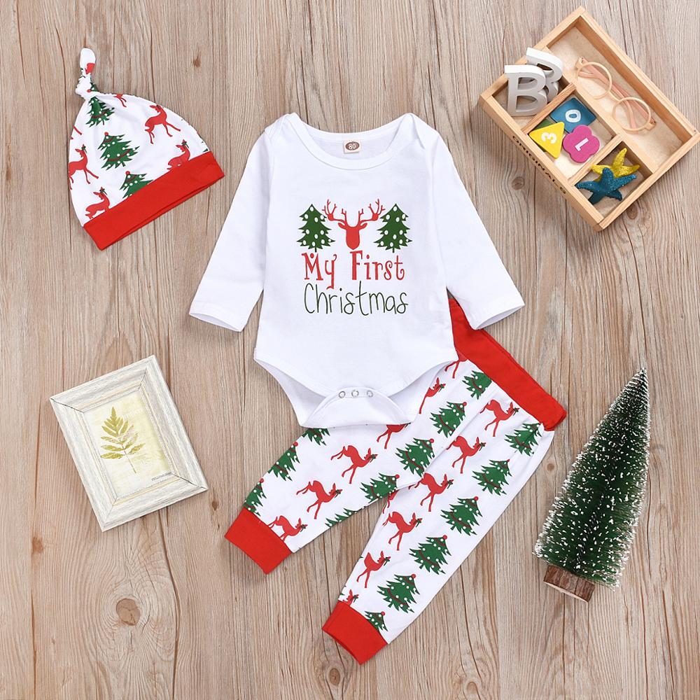 New Xmas Infant Baby Boy Girl   Romper   Tops+Pants Christmas Deer Outfits Set Long Sleeve Winter Clothes T#