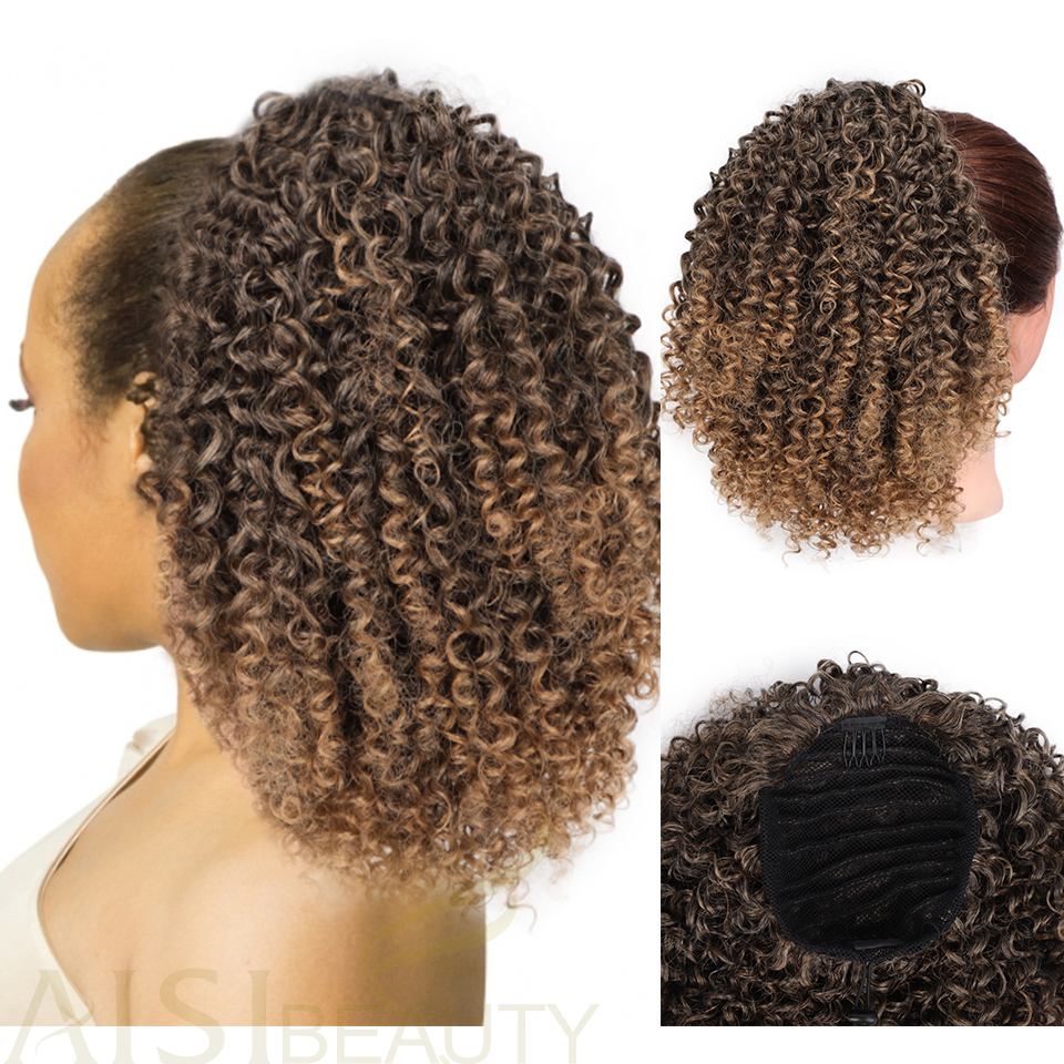 AISIBEAUTY Afro Kinky Curly Ponytail Hair Extension Drawstring Afro American Short Wrap Chignon Synthetic Puff Clip In Hairpiece