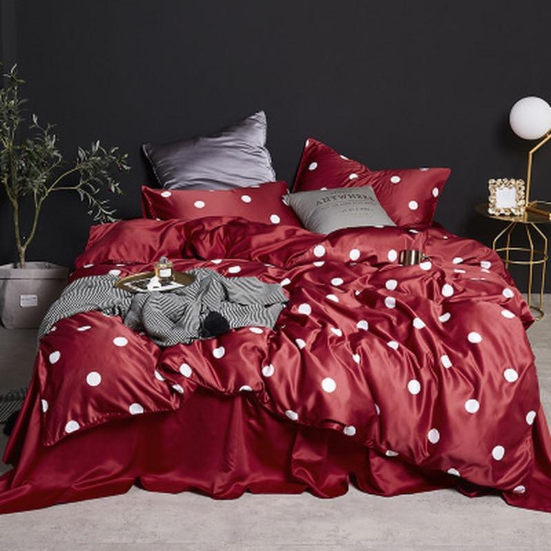 Luxe soie literie confort reine taille ensemble de lit imitation soie imprimé couvre-lit king size couvre-lit taie d'oreiller 4 pièces