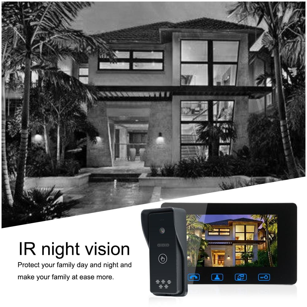 Visiophone filaire 7 couleur LCD avec visionneuse de caméra à sonnette numérique étanche système d'interphone à Vision nocturne IR - 5