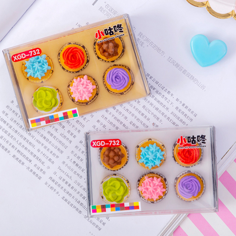 6pcs/lot Mini Flower Cake Eraser Funny Students' Gift Prize Kids's  Toy Kawaii Office School Stationery