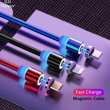 Rexxar Magnetic Cable For iPhone Samsung Fast Charging Micro USB Cord Magnet Charger Type C 1m 2 m Mobile Phone Cables