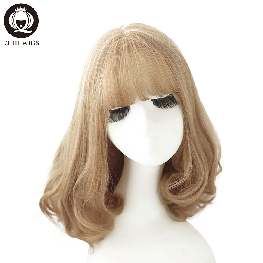 7JHH Short Water Wave Blonde Hair Synthetic Cosplay Wig With Bangs For Women Fashion Ombre Brown Heat Resistant Curly Wig