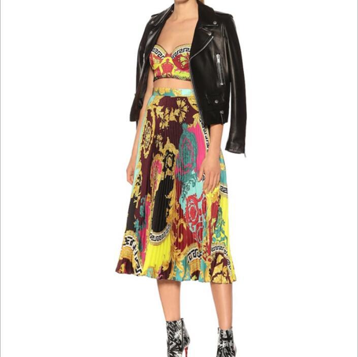Épaule dénudée dentelle bretelles Crop hauts imprimer taille haute Midi jupe femmes deux pièces correspondant ensemble femme mode vêtements