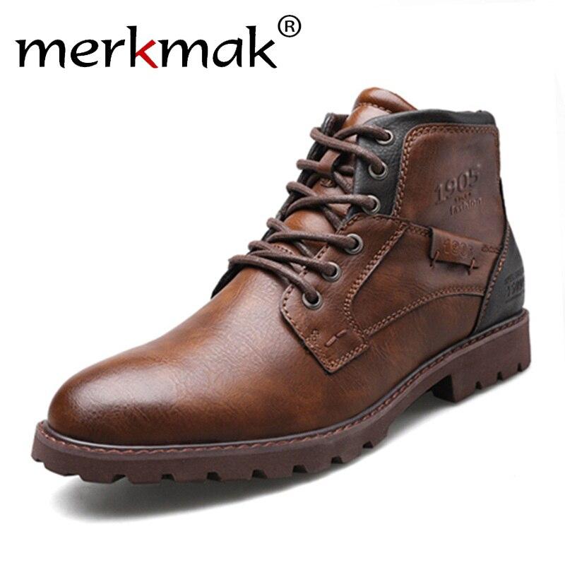 Merkmak 2019 New Arrival Men's Vintage Ankle Boots Autumn Winter Men Shoes Casual Male Leather Shoes Comfortable Man Boots