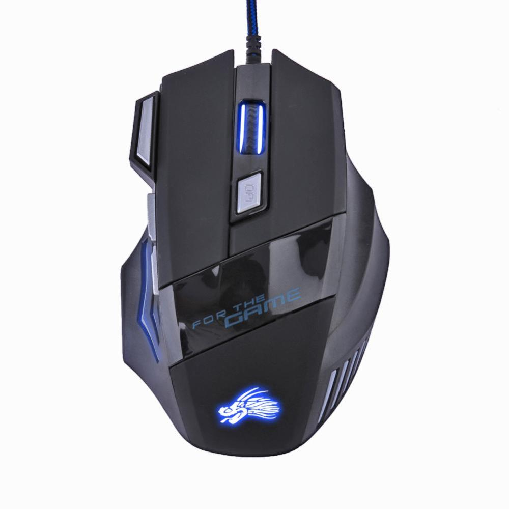 Dropship 5500 dpi led óptico gaming mouse usb wired gamer mouse 7 botões do computador gamer ratos para computador portátil