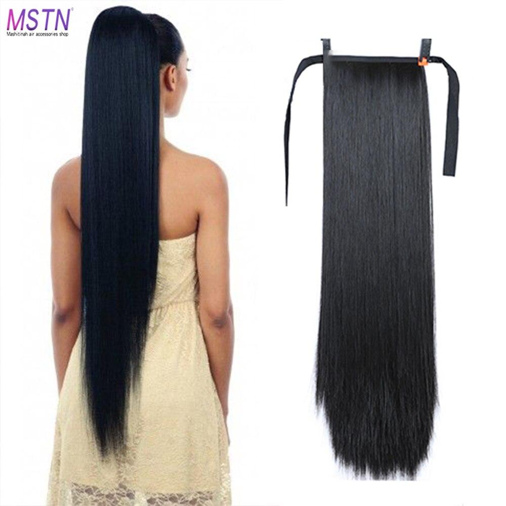 MSTN 30 pouces cheveux synthétiques fibre de cheveux résistant à la chaleur cheveux raides avec queue de cheval cheveux étendus noir brun chapeaux