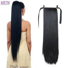 MSTN 30 pulgadas de pelo sintético de fibra de pelo liso resistente al calor con cola de caballo extensible negro marrón headwear