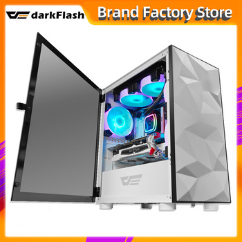 Darkflash DLM21 desktop computer case gabinete pc gamer completo small mini matx/itx htpc chasis Tempered glass gaming pc case 1