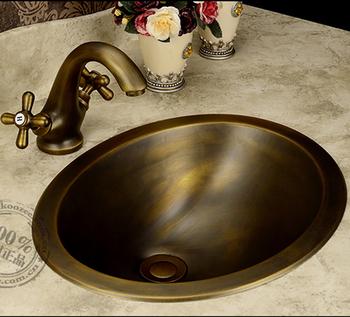 Moda umywalka brąz umywalka ręcznie miedziana umywalka antyczny brąz umywalka mosiądz bateria umywalkowa licznik tanie i dobre opinie Nie hole Owalne BRASS Pod ladą umywalki Ociekaczem Szampon umywalki B80383