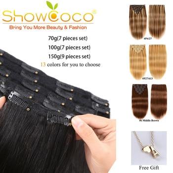 Showcoco Clip In Hair Extensions Menselijk Haar Machine Gemaakt Remy Clip In Haarstukken 13 Kleuren Clip In Extensions Voor Vrouwen