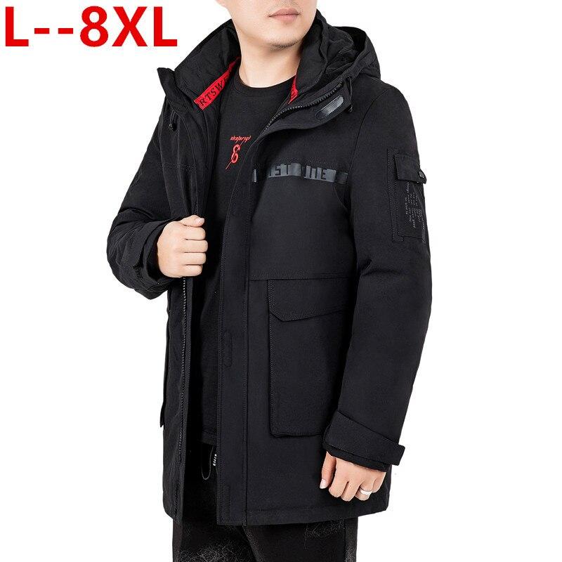 Plus Size 10XL 8XL 6XL Long Parkas Winter Jacket Men Warm Windproof Casual Outerwear Padded Cotton Coat Big Pockets Parkas Men