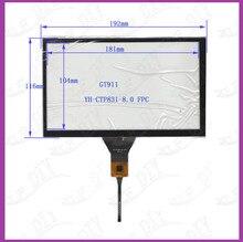 Frete grátis nova Marca 8 polegada tela de toque Capacitiva de 192x116 cm GT911 6pin para carro dvd gps toque tela