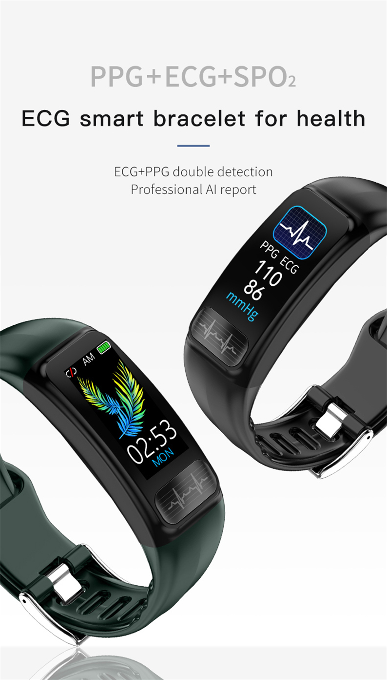 H246f35b5ba854e949c6d35bbc8fb0533I P12 ECG PPG SPO2 smart bracelet heart rate oxygen monitor blood pressure smart belt IP67 waterproof call reminder sports Band