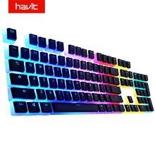 Havit keycaps duplo tiro backlit pbt pudim keycap conjunto com extrator compatível com cherry mx teclado mecânico, preto e branco