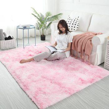 4 Sizes Soft Silk Wool Carpet Indoor Modern Shag Area Rug Silky Rug Bedroom Floor Mat Baby Nursery Rug Children Carpet Pink