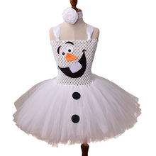 Snowman Olaf Childrens Dress Cute Princess Ball Gown Fancy Snow Queen Elsa Christmas Birthday Party Costume For Girls Tutu