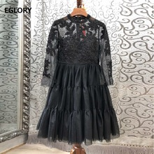 Ball Gown Dresses 2019 Autumn High Quality Party Evening Women Sexy Tulle Mesh Beading Patchwork 3/4 Sleeve Tunic Black Dress