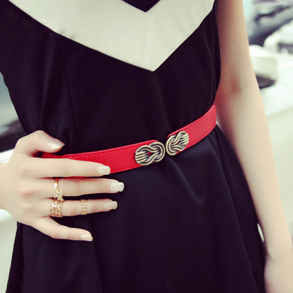 Fashion Women's Skinny Elastic Waist Belt Vintage Alloy Buckle Waistband Cinch Strap For Ladies High Waist Belts Black Red