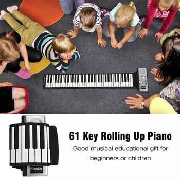 Electronic Organ 61 Keys Electronic Portable Silicone Flexible Hand Roll Up Piano Built-in Speaker MIDI Out Keyboard Organ