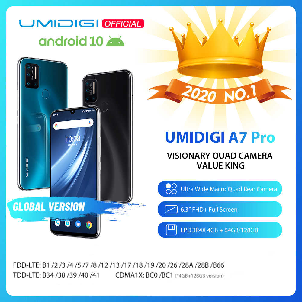 "In Voorraad Umidigi A7 Pro Quad Camera Android 10 Os 6.3 ""Fhd + Full Screen 64Gb/128gb Rom LPDDR4X Octa Core Global Versie Telefoon"