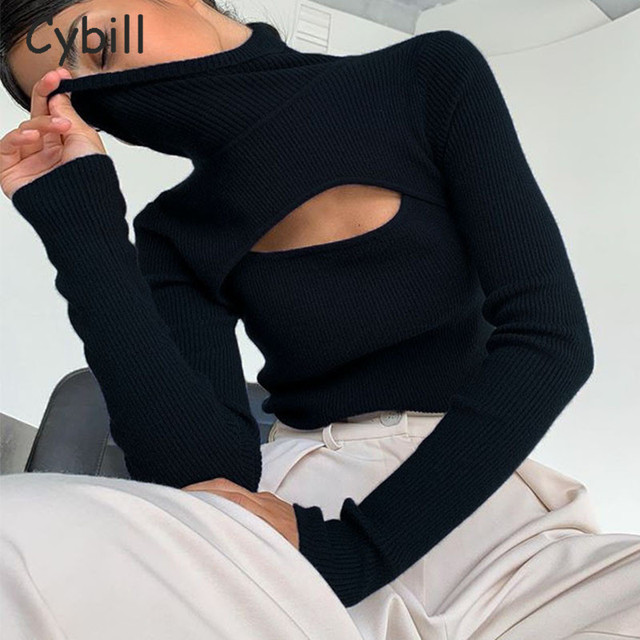 Cybill Ribber Knitted Turtleneck Top Women Hollow Out Casual Long Sleeve T Shirt Skinny Autumn Winter Slim Tee Lady Clothing 1