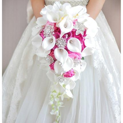 Водопад Красные Свадебные цветы Свадебные букеты искусственный жемчуг Кристалл Свадебные букеты букет De Mariage Роза