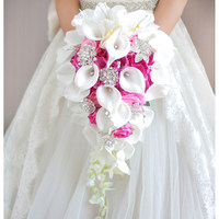 Waterfall Red Wedding Flowers Bridal Bouquets Artificial Pearls Crystal Wedding Bouquets Bouquet De Mariage Rose