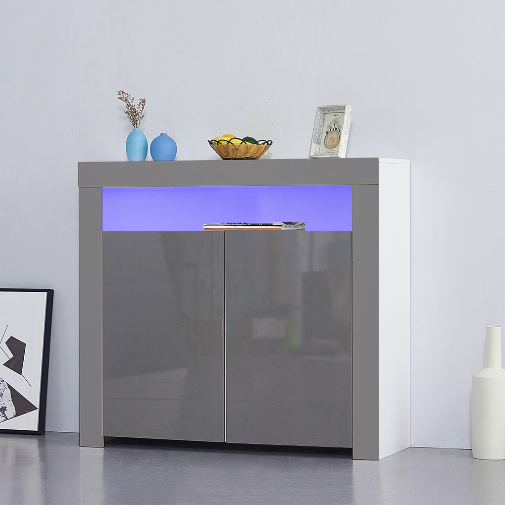 Two High Gloss Doors Sideboard Storage Cabinet with RGB Multicolor LED Lighting
