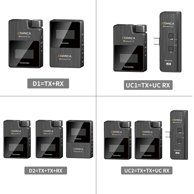 Comica BoomX D ميكروفون لاسلكي عدة الارسال ميكروفون صغير استقبال 2.4G الرقمية ميكروفون للهواتف الذكية فيديو هيئة التصنيع العسكري