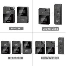Comica Kit de transmisor de micrófono inalámbrico boomx d, Mini receptor de micrófono, microfono Digital de 2,4G para teléfonos inteligentes, micrófono de vídeo