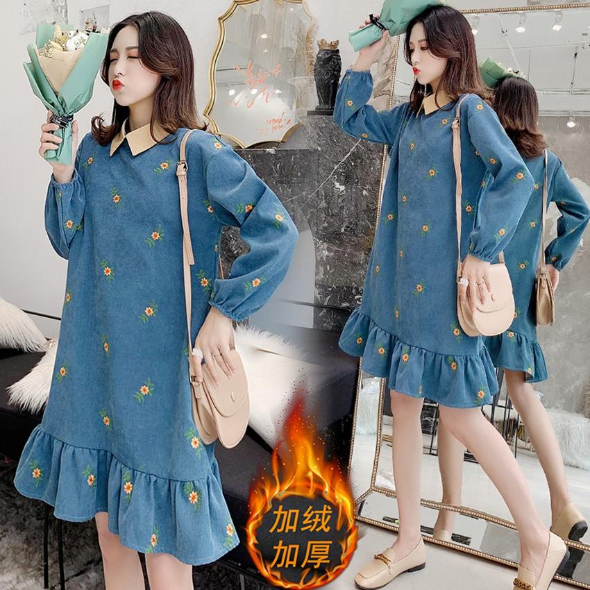 Plus velvet maternity clothes new winter Korean fashion collar lapel corduroy embroidered dress ruffle