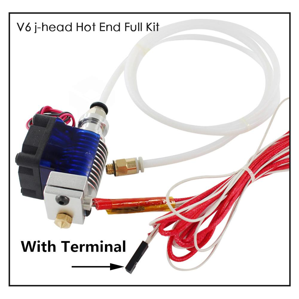 3D Printer Parts E3D V6 Hotend Kit 0 4 1 75MM J-head Remote extruder 12V 24V with Cooling Fan tube