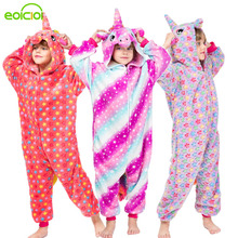 EOICIOI New kigurumi animal children girls pajamas unicorn Stitch cosplay Hooded christmas pyjamas infantil kids boys