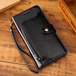 Etui z klapką skórzane etui do Redmi 8A 4X 5 6 uwaga 4 4X uwaga 7 8 Pro 8T do Xiaomi A3 9T Note10 Pro gniazda na karty Zipper portfel Coque w Etui na portfel od Telefony komórkowe i telekomunikacja na