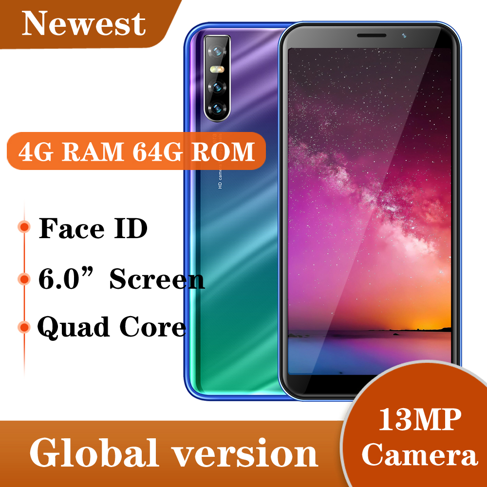 Оригинальный смартфон S6, 13-мегапиксельная разблокировка лица, IPS сотовый телефон, 3G WCDMA WIFI MTK Android 5,1, мобильные телефоны, 4 Гб ОЗУ 64 Гб ПЗУ, четы...