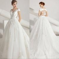 Simlple Silk Taffeta boho Bridal Gown 2019 new Sexy Illusion Bride Wedding Dress Luxyry lace Vestido de novia Robe de mariee