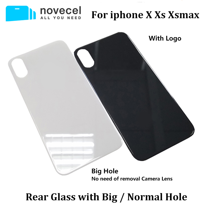 Novecel Battery Rear Glass For Iphone X XS XSMax Rear Housing Battery Door Case Replacement Parts With Big Or Normal Hole