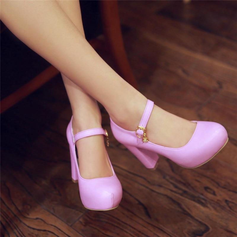 2019 Autumn New Womens Shoes Platform High Heels Purple White Black Party Dress Office Mary Jane Shoes Woman Pumps 43