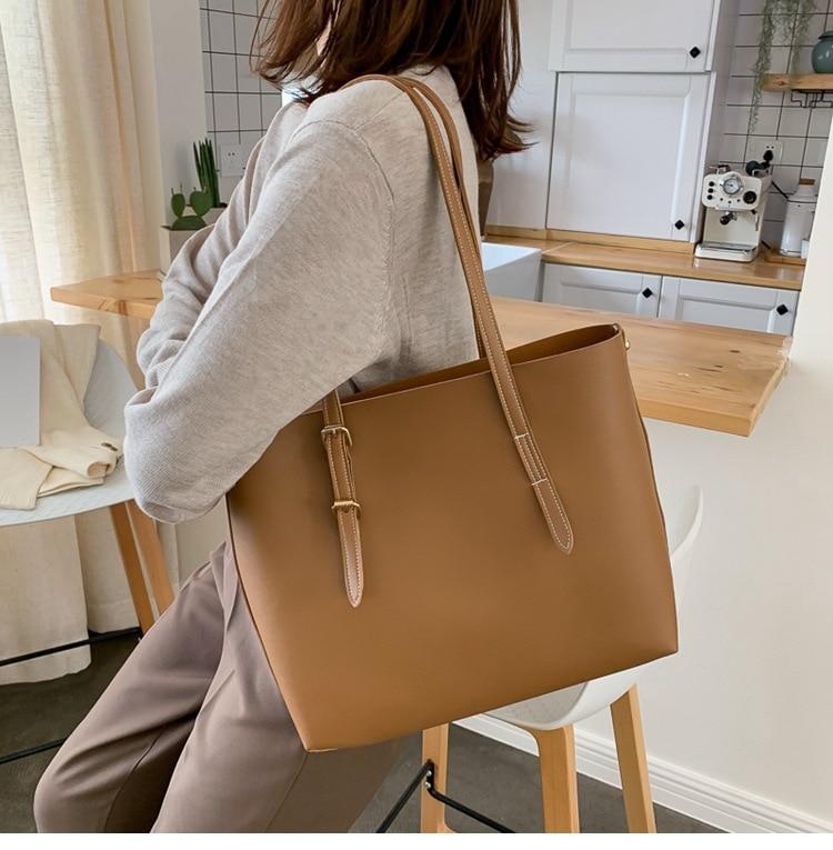 SMOOZA Women bag Solid Women's PU Leather Handbags Luxury Lady Hand Bags Purse Pocket Women messenger bag Big Tote Sac Bols(China)