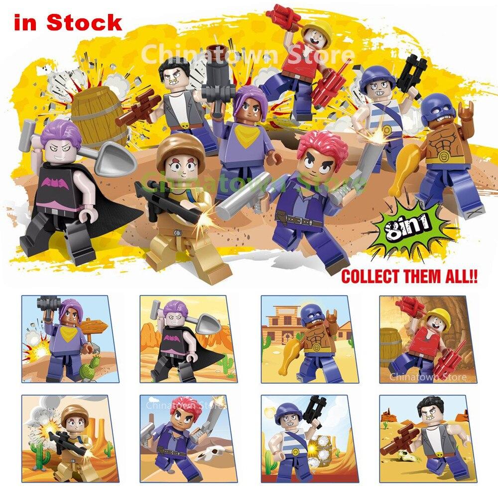 8pcs Brawl Figures Battle Hero EL Primo Mortis Spike Building Blocks Kit Bricks Classic Star Model Kids Toys For Children Gift